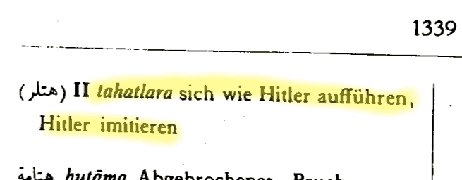 "The Arabic verb: ""to behave like Adolf Hitler"" 3"